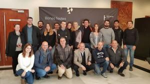 A la imatge, els socis d'Emccat Grup i els representants de Weber